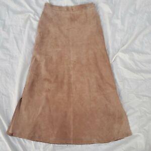 Pendleton Originals Women Maxi Skirt Lined brown Tan Suede Leather Western SZ 6
