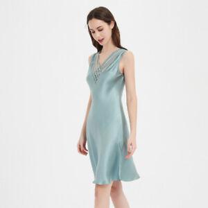 Pure Silk Womens Sleeveless Sleepwear Slips