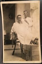 Real Photo Postcard RPPC ~ Barber Shaves Man ~ Primitive Barbershop ~ Occupation