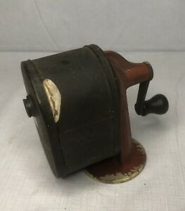 EARLY VINTAGE BOSTON EVER HANDY PENCIL SHARPENER RED WITH WOOD KNOB HANDLE