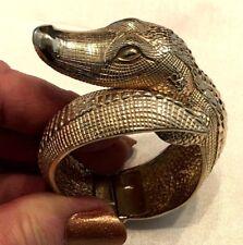 FABULOUS Figural CASTLECLIFF Alligator Gold Tone Hinged/Cuff Bracelet!