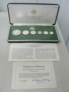 1976 Coinage Of Guyana 6 Coin Proof Set In Original Franklin Mint Case With COA