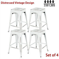 Distressed Metal Barstools 24 inch Vintage Counter Height Chair Stools Set Of 4