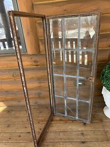 Antique Vintage Industrial Steel Crittall Casement Lite Leaded Glass Window