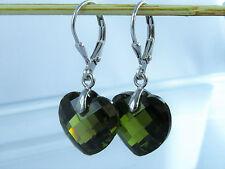 Damen Herz Brisuren Ohrringe 925 Silber Zirkonia Olive-Grün Ohrhänger 32mm