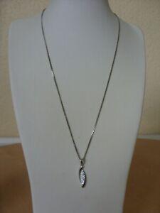 925 Sterling Silver Crystal Set Pendant Necklace~~ Lovely !!