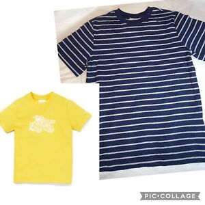 2- Boy's HANNA ANDERSSON Soft  Blue Stripe & Yellow Dump Truck Shirts NWT 10 140