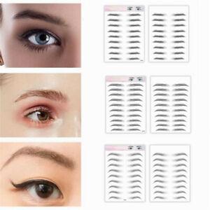 9/10 Pairs 3D Stick-On Eyebrows Tattoo Sticker Eye Brow Makeup Decal Waterproof