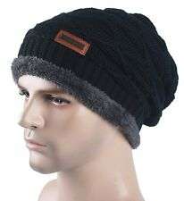 Spikerking Mens Knitting Caps Winter Hats Beanie Skull Hat With Thick Lining Bla