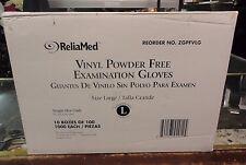ReliaMed Vinyl (Powder Free) Examination Gloves Large (1000 Gloves) ZGPFVLG