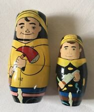 "RUSSIAN NESTING DOLLS Fireman & Son   2PCS SET 6"" GORGEOUS ARTWORK Lot VTG"