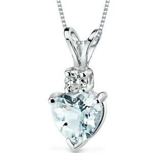 "0.75 ct Heart Shape Aquamarine and Diamond Pendant in 14K White Gold, 18"""