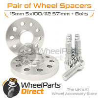 Wheel Spacers (2) & Bolts 15mm for Audi TT Mk1 [8N] 98-06 On Aftermarket Wheels