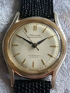 Mens Vintage Gold Plated NIVADA COMPENSAMATIC 21 Rubis Automatic Wristwatch