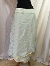 J.Jill J. Jill Pretty Layered Overlap Wrap Style Skirt Blue Cream $99 Size 12