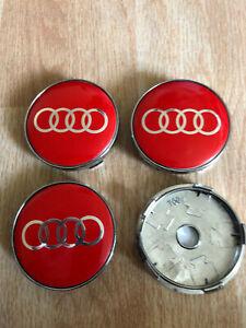 4x Audi Wheel Centre Cap Alloy Hub New Set of 4 Centre Caps 60mm Red/Silver
