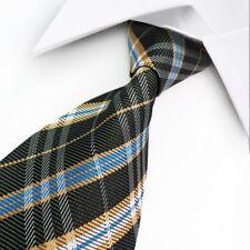 GIFTS FOR MEN Classic Woven Pattern Striped Mens Silk Work Tie Black Blue Orange