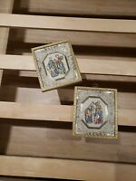 Vintage ITALIAN FLORENTINE Style WALL PLAQUES painted Courting Couple Set Pair