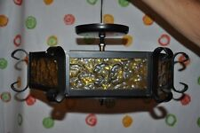 Vintage ELECTRIC CEILING Black WROUGHT IRON 6 Panel LAMP LIGHT RETRO Swag Gothic