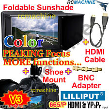 "Lilliput 7"" 665/P Peaking Focus HDMI In Monitor+Hot shoe stand+cable+F970 adapt"