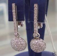Boucles D'Oreilles avec Piquet et Demi-Cercle de Diamant en or Blanc 750 18K