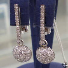 Boucles D'Oreilles Avec Piquet Et Demi-Cercle De Diamants en or Blanc 750 18K
