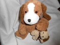MINE ALONE PLUSH TAN CREAM BROWN PUPPY DOG HOLDING BEAR HUG TEDDY LOVEY SET