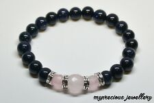 Natural Pink Quartz Goldstone Gemstone Bracelet Silver Elasticated Healing Gift