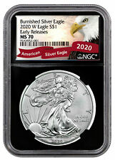 2020 W 1 oz Burnished American Silver Eagle $1 Coin NGC MS70 ER BC Eagle PRESALE