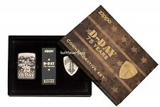 Zippo D Day 75 Years mit Messingmedaillon Limited Edition Replica Black Crackle