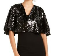Teeze Me Jacket Black Size Small S Junior Sequin Capelet Flutter-Sleeve $39 010