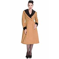 Hell Bunny Vivien Camel Vintage 50s Fur Collar Winter Coat UK
