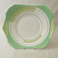 Shelley Eared Sandwich or Cake Plate Bands and Lines 12131 Green Regent Shape