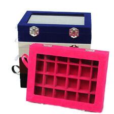 Glass Jewelry Velvet Ring Organizer Tray Holder Earring Storage Case Display Box