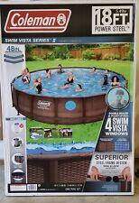 Coleman Swim Vista Series Ii 18' x 48� Power Steel Above Ground Swimming Pool