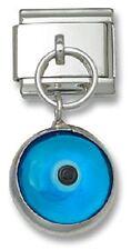 Italian Charm Dangle Link Blue Lucky Evil Eye Sterling Silver Fit 9 mm Bracelet