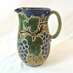 """ELEANOR MURPHEY SUNSTONE GALLERY SIGNED ART POTTERY PITCHER GRAPES VINES 8.5""""H"""
