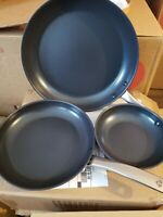Joy Elite Blue Diamond 3 piece pan set.. NEW, ONLY OPEN BOX