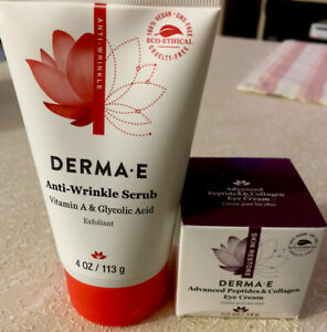 New Derma E Anti-Wrinkle Scrub 4oz/Advanced Peptide & Collagen Eye Cream 1/2 oz