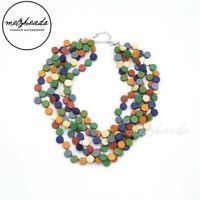Multi Coloured Layered Cluster Circle Wooden Necklace Fashion Women Bib Gift Her