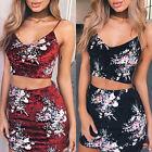 Summer Casual Women Bodycon Two Piece Dress Crop Top Skirt Set Sleeveless Outfit