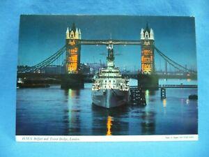 H.M.S. Belfast and Tower Bridge London Postcard Unposted