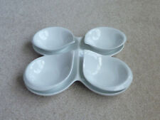 Fitz and Floyd Everyday White Porcelain Four Serving Bowls with Tray Teardrop