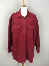 Eddie Bauer Corduroy 1/4 Zip Pullover Tunic Sz XL Brick Red Rounded Hems Pockets