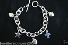 Sterling silver very heavy T- bar bracelet with charms Jewellery Company