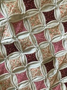 Hand Quilted Cathedral Window Pane Long Pillow Sham 100% Cotton Pinks Peach