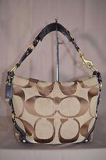 Coach 10619 Khaki Black Signature Carly Hobo Shoulder Bag Tote Purse Handbag