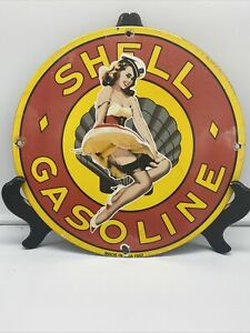 1957 VINTAGE STYLE ''SHELL GASOLINE'' VINTAGE GAS & OIL 12'' ROUND SIGN.