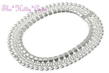 Roman Egyptian Cleopatra Pharaoh Style Matt Silver Braided Woven Choker Necklace