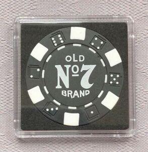 JACK DANIEL'S OLD No.7 BRAND CASINO/POKER CHIP CARD GUARD/PROTECTOR - Black (b)